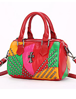 Women Bags Sheepskin Tote Beading Zipper for Formal Office & Career All Seasons Black Red Army Green