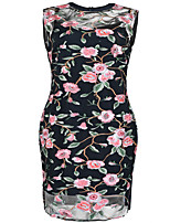 Women's Daily Plus Size Sexy Lace Dress,Color Block Embroidered Round Neck Knee-length Sleeveless Polyester Spring Summer Mid Rise