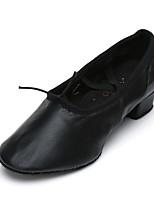 Women's Jazz Leatherette Practice Chunky Heel Black 1