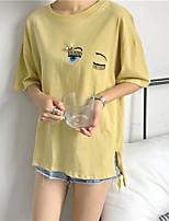T-shirt Da donna Casual Semplice Romantico Con stampe Ricamato Rotonda Cotone Manica corta