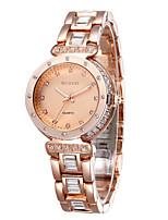 Жен. Модные часы Кварцевый Защита от влаги сплав Группа Блестящие Кольцеобразный Серебристый металл Розовое золото