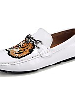 Hombre Zapatos PU Primavera Otoño Confort Zapatos de taco bajo y Slip-On Para Casual Blanco Negro