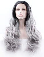 Women Synthetic Wig Lace Front Medium Length Long Curly Wavy Natural Wave Loose Wave Deep Wave Water Wave Grey Ombre Hair Dark Roots