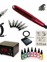 Starter Tattoo Kit 1 rotary machine liner & shader Tattoo Machine 15 7 × 15ml Tattoo Ink 5 x disposable grip
