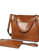 Women Bags All Seasons PU Bag Set Pockets for Shopping Casual Black Red Dark Green Brown Wine