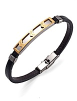 Men's Women's Bracelet Leather Bracelet Metallic Rock Stainless Steel Leather Round Jewelry For Casual Going out