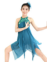Ballet Dresses Sequins Women's Children's Performance Elastic Sequined Lycra Paillette Sleeveless Dresses Headpieces