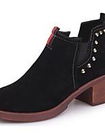 Mujer Zapatos PU Otoño Invierno Botas de Combate Botas Talón de bloque Dedo redondo Mitad de Gemelo Para Casual Negro Verde Ejército