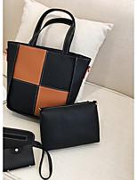 Women Bags All Seasons PU Bag Set Zipper for Outdoor Red Blushing Pink Gray Brown