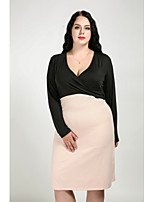 Cute Ann Women's Plus Size Casual/Daily Sexy Vintage Cute Bodycon Dress,Color Block V Neck Knee-length Long Sleeves Cotton Polyester All Seasons