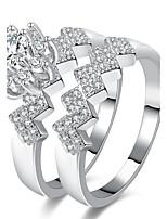 Femme Anneaux Bague de fiançailles Zircon Zircon Alliage Forme Géométrique Bijoux Pour Mariage Soirée Fiançailles Cérémonie