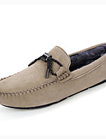 Men's Shoes Pigskin Fall Winter Fluff Lining Comfort Loafers & Slip-Ons Tassel For Casual Party & Evening Khaki Gray