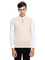Men's Casual/Daily Regular Vest,Solid Round Neck Sleeveless Cotton Fall Winter Medium Micro-elastic