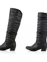 Для женщин Обувь Дерматин Полиуретан Осень Зима Удобная обувь Оригинальная обувь Модная обувь Ботинки На толстом каблуке Круглый носок