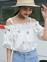 Women's Daily Cute Sexy Summer T-shirt,Solid Print Round Neck Short Sleeves Cotton Thin
