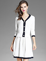 EWUS Women's Going out Casual/Daily Street chic Fall Blouse Skirt SuitsSolid V Neck Long Sleeve Micro-elastic