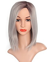 Women Synthetic Wig Capless Short Grey Ombre Hair Party Wig Costume Wig