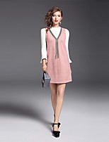 YIYEXINXIANG Women's Daily Work Casual Fall Dress Suits,Solid Round Neck Long Sleeve Polyester Nylon Micro-elastic