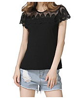 Women's Going out Casual/Daily Street chic Summer Blouse,Solid Round Neck Short Sleeves Cotton Medium