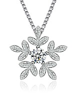 Women's Pendant Necklaces Cubic Zirconia Leaf Snowflake Zircon Fashion Luxury Jewelry For Gift Christmas