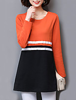 Women's Daily Sexy Spring Fall T-shirt,Color Block Round Neck Long Sleeves Cotton Polyester Medium