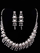 Women's Wedding Party Silver Plated Necklace Earrings
