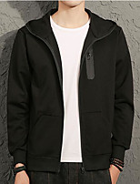 Men's Sports Simple Hoodie Solid Hooded Micro-elastic Cotton Long Sleeve Fall