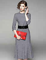 Women's Daily Going out Street chic A Line Dress,Striped Stand Midi 3/4 Length Sleeves Polyester Fall Mid Rise Inelastic Medium