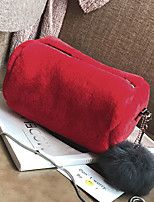 Women Bags All Seasons Fur Clutch Zipper for Casual Outdoor Black Red Blushing Pink Gray Coffee
