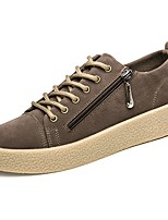 Men's Shoes PU Spring Fall Comfort Sneakers Lace-up For Casual Khaki Gray Black