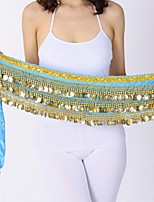 Belly Dance Hip Scarves Women's Performance Velvet Chiffon Gold Coin Hip Scarf