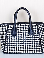 Women Bags All Seasons Cowhide Tote with Tiered for Shopping Casual Black/White
