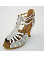 Women's Latin Leatherette Honeycomb Heel Indoor Splicing High Heel Black Silver 2