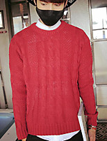 Standard Cardigan Da uomo-Casual Tinta unita Rotonda Manica lunga Cotone Autunno Medio spessore Media elasticità