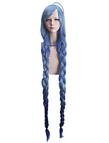 Women Synthetic Wig Capless Very Long Straight Light Blue Braided Wig With Bangs Party Wig Halloween Wig Cosplay Wig Costume Wig