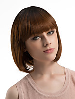 Women Synthetic Wig Capless Medium Length Straight Dark Brown/Dark Auburn Ombre Hair Bob Haircut With Bangs Natural Wigs Costume Wig
