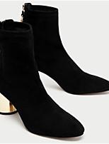 Mujer Zapatos Cuero Nobuck PU Invierno Pump Básico Botas de Moda Botas Tacón Robusto Botines/Hasta el Tobillo Para Casual Negro