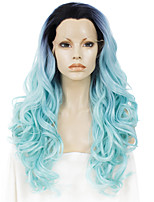 Men Women Synthetic Wig Lace Front Long Wavy Blue Ombre Hair Dark Roots Natural Hairline Drag Wig Party Wig Halloween Wig Cosplay Wig
