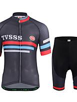 Maillot et Cuissard de Cyclisme Homme Manches Courtes Vélo Shirt Maillot Shorts Rembourrés Ensemble de Vêtements Léger Térylène LYCRA®