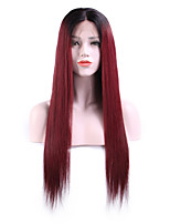 Women Human Hair Lace Wig Brazilian Remy Lace Front 130% Density With Baby Hair Straight Wig Black/Burgundy Short Medium Length Long