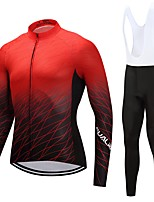 Cycling Jersey with Bib Tights Unisex Long Sleeves Bike Clothing Suits Quick Dry Solid Floral / Botanical Autumn/Fall Spring Cycling/Bike