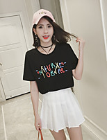 Women's Going out Casual T-shirt,Solid Letter Round Neck Short Sleeves Cotton