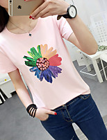 Women's Daily Active Summer T-shirt,Print Round Neck Short Sleeves Cotton