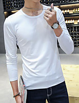 Men's Daily Sweatshirt Solid Round Neck Micro-elastic Cotton Polyester Long Sleeve Fall