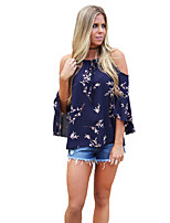Women's Holiday Going out Coily Fall T-shirt,Print Off Shoulder 3/4 Length Sleeves Polyester Spandex Medium
