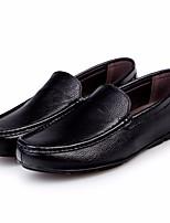 Hombre Zapatos PU Otoño Confort Zapatos de taco bajo y Slip-On Para Casual Negro
