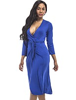 Women's Plus Size Casual/Daily Street chic Sheath Dress,Solid V Neck Midi 3/4 Length Sleeves Cotton Polyester Fall Mid Rise Stretchy Thin