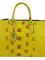 Women Bags All Seasons Cowhide Tote Crystal Detailing Zipper for Casual Yellow