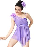 Balletto Vestiti Per donna Per bambini Esibizione Elastene Elastico Maglia Licra Plissettato Senza maniche Alto Abiti Accessori per