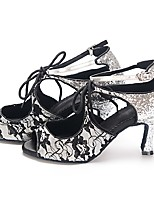Women's Latin Lace Tulle Heel Indoor Pattern/Print High Heel Black Silver Gray 2